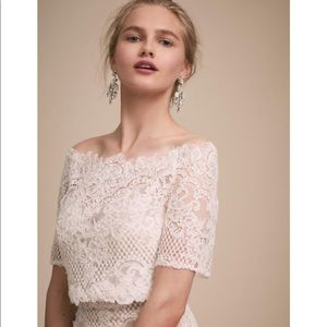 """BHLDN """"Walsh"""" ivory lace wedding topper size 4"""